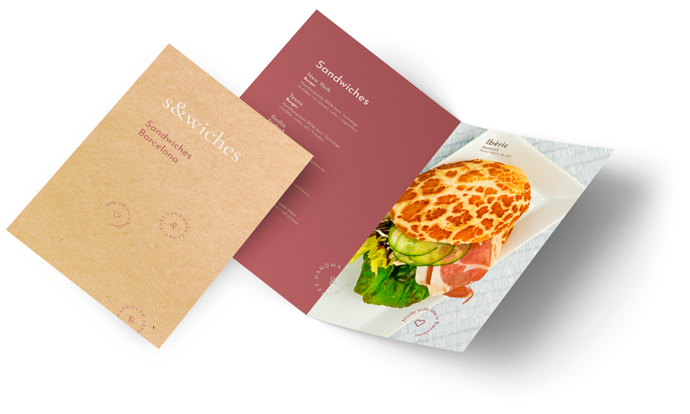 Identitat visual minimalista: fulletó publicitari i carta de restaurant.