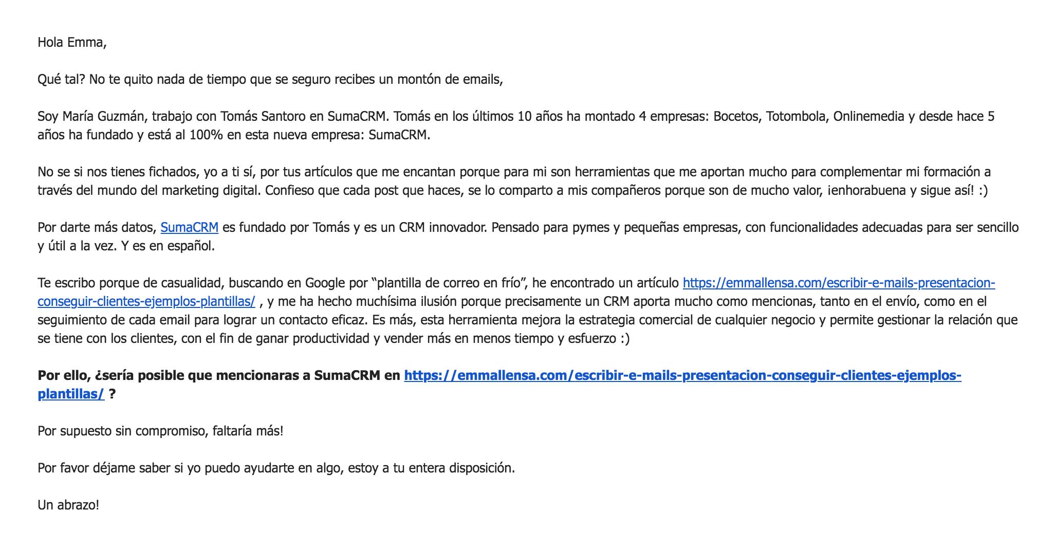 Buen ejemplo de email en frío